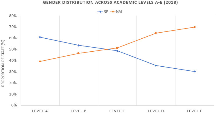 Across all academic areas, men consistently outnumber women at senior levels, with a sharp drop in the proportion of women academics at Level C and above