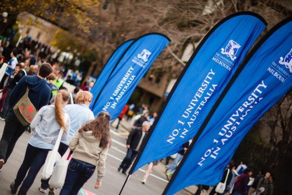 Melbourne University students walking around on campus